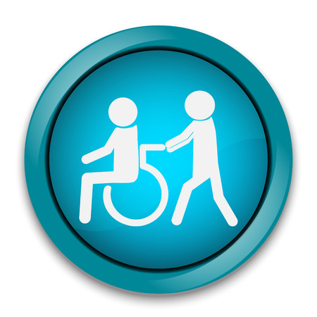man pushing: Disabled icon, Disabled button , a man pushing wheelchair of man patient illustration