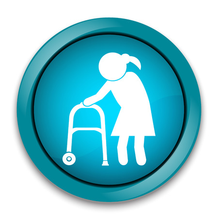 Elderly woman icon. old people icon, button vector illustration Illustration