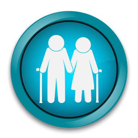 Elderly symbol. old people icon, button vector illustration Illustration