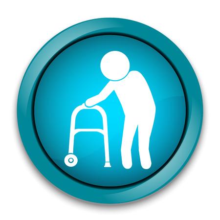 Elderly man icon. old people icon, button vector illustration