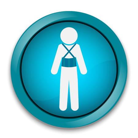 splint: Heridos en el icono de dolor de espalda. Férula para el botón de órtesis vertebral