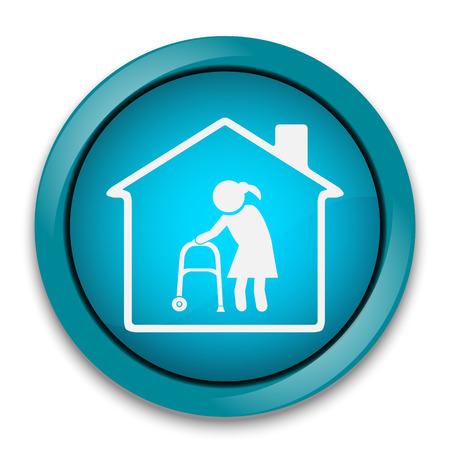 home button: Nursing home button, icon vector illustration