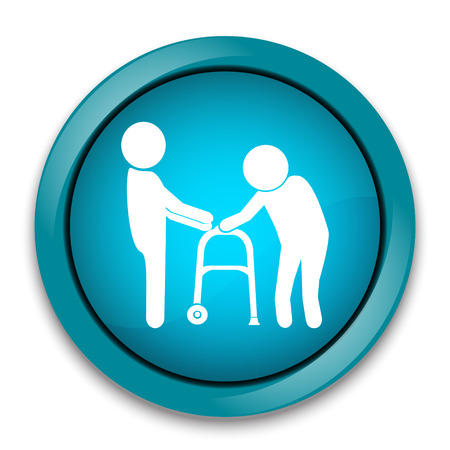 Man helps elderly patient with a walker, button vector illustration
