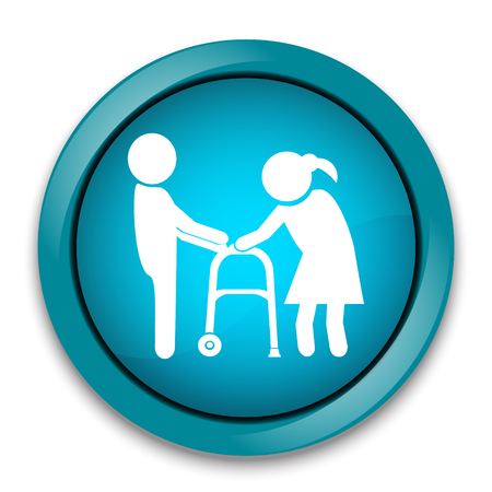 walker: Man helps elderly patient with a walker, button vector illustration