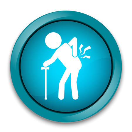 man back pain: Elderly Man with stick and injury of the back pain icon, Old people sign