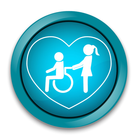 retirement home: Disabled care, Nursing home sign icon, a woman pushing wheelchair of man patient.