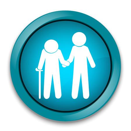 Man helps elderly patient icon, button vector illustration