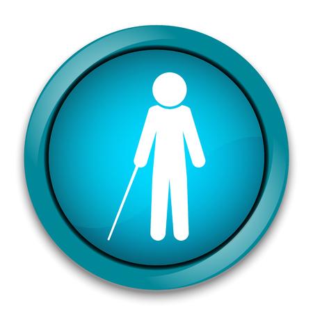 Blind man with stick symbol illustration Illustration