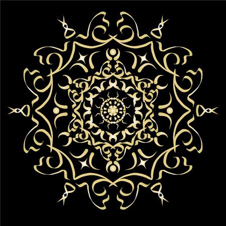 gold ornament: Gold color gradient ornament element abstract vector illustration