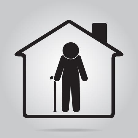 old nursing: Nursing home for elderly icon