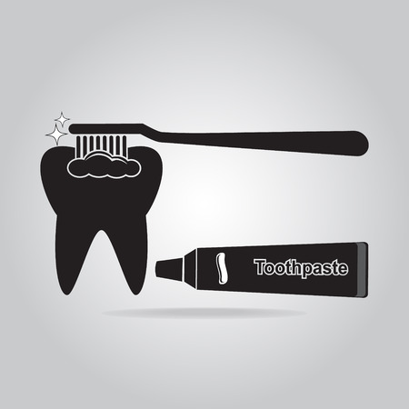 tooth cleaning: Tooth cleaning with toothbrush icon, dentist icon