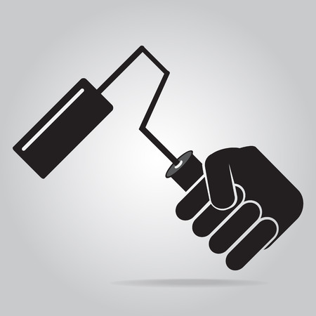 Hand holding with Paint roller brush icon