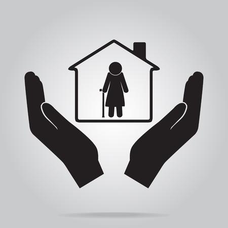 old nursing: Nursing home for elderly in hand icon