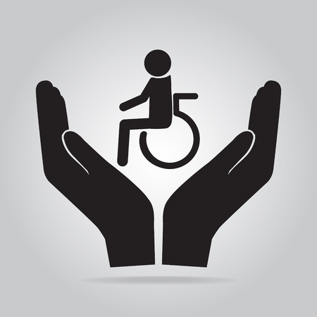 disabled access: Disabled in hand icon. Protection, care concep Illustration