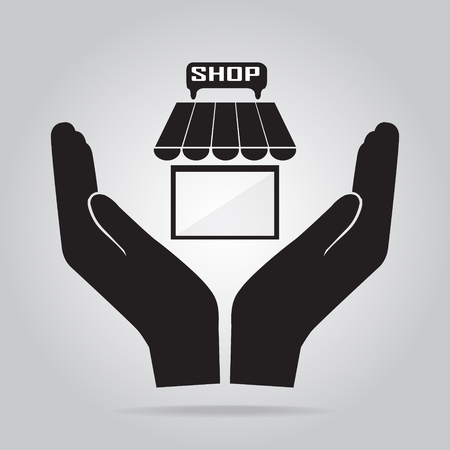 Shop building in hand icon. Protection or safety, care concept