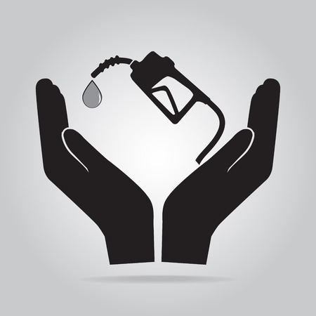 protection icon: Gasoline pump in hand icon. Protection or safety, care concept