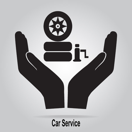 car tire: Tire and jack in hand icon. Protection or care, car service concept Illustration