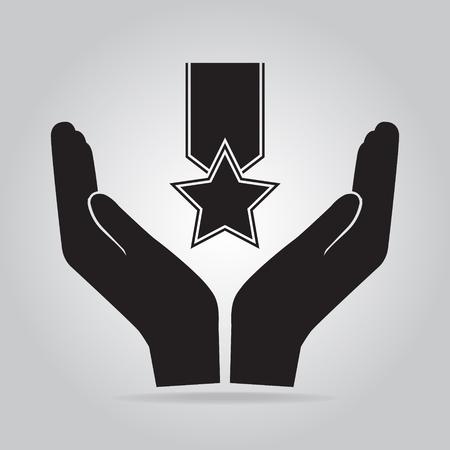 commend: Award in hand icon, recommend, appreciate concept