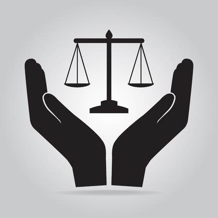 justice scale: Justice scale in hand icon, protection concept