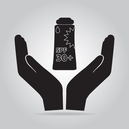 sunblock: Sunblock in handicon, sunblock SPF 30, protection skin health concept Illustration