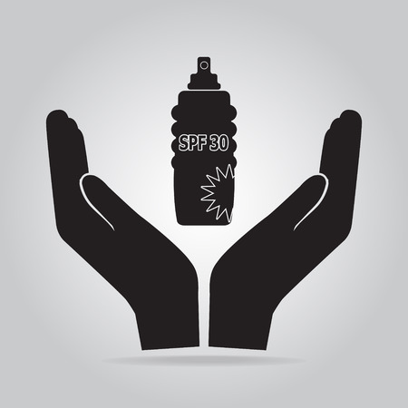 Sunscreen spray in hand icon, sunblock SPF 30, protection skin health concept