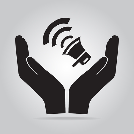 intruder: Siren in hand icon, voice sign. protect, safety concept