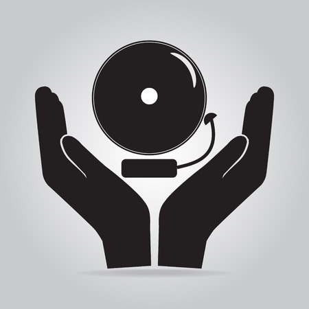 protect concept: Alarm bell in hand icon, warning sign. Protect concept Illustration
