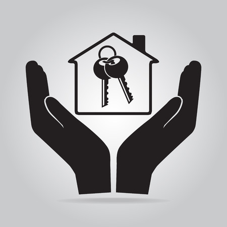 Key lock and home in hand icon, protect, care concept Illustration