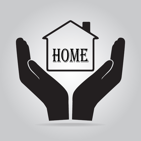 protect: Home in hand icon, protect, care concept