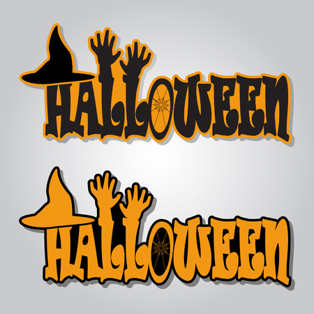 Halloween text, hat and hands icon, halloween symbol