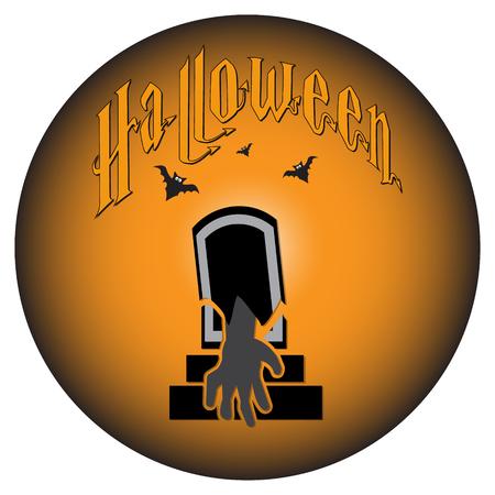 casket: Grave and hand,  bat for Halloween symbol, vector illustration Illustration