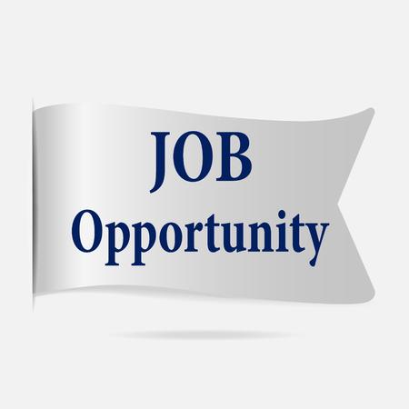 opportunity: Job Opportunity label, silver ribbon badge illustration Illustration