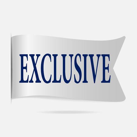 exclusive: Exclusive label, silver ribbon badge illustration