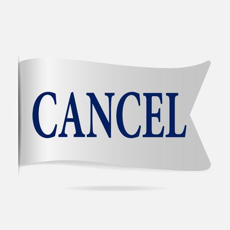 silver ribbon: Cancel label, silver ribbon badge illustration