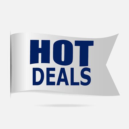 hot deals: Hot deals label, silver ribbon badge illustration