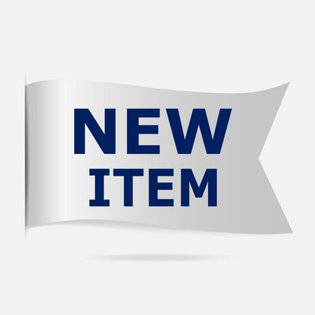 silver ribbon: New item label, silver ribbon badge illustration