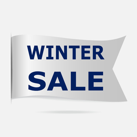 silver ribbon: Winter sale label, silver ribbon badge illustration