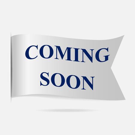 silver ribbon: Coming soon label, silver ribbon badge illustration