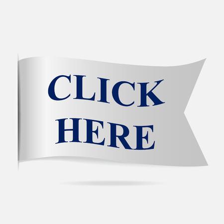 silver ribbon: Click here label, silver ribbon badge Illustration