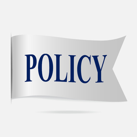 silver ribbon: Policy label, silver ribbon badge Illustration