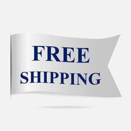 silver ribbon: Free shipping label, silver ribbon badge