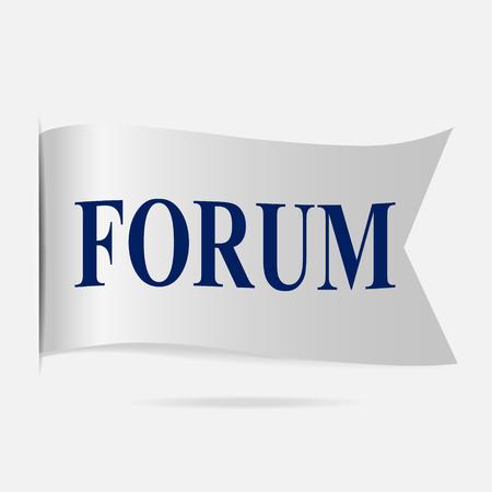 silver ribbon: Forum label, silver ribbon badge Illustration