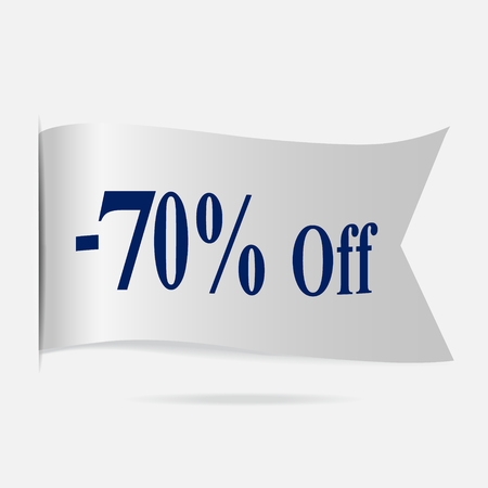 silver ribbon: Sale price 70 % label, silver ribbon badge Illustration