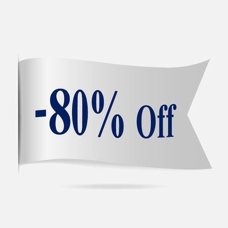 silver ribbon: Sale price 80 % label, silver ribbon badge Illustration