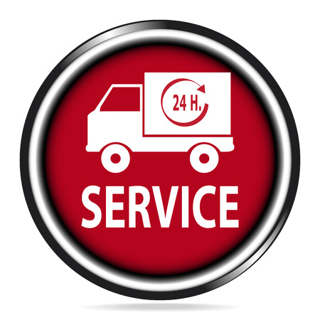 ship with gift: Car service icon,delivery 24 hours button, badge illustration