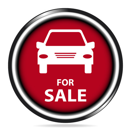 car for sale: Car for sale icon, red button, badge illustration Illustration