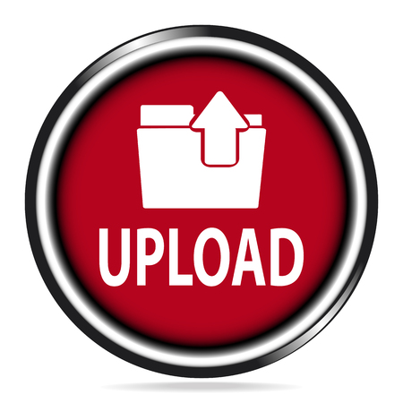 files: Upload icon,  file and upload text red button