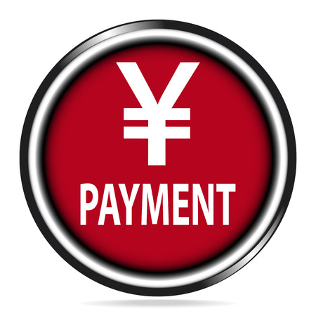 Payment icon, money and payment red button, badge illustration Illustration