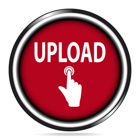 Upload icon,  file and upload text red button