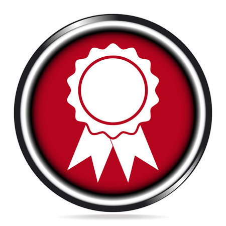 Award Icon Sign on red button